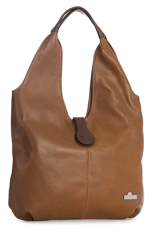 52df12a9a Get Quotations · LIATALIA Genuine Italian Soft Leather Large Boho Hobo Tote  Shopper Shoulder Bag - ZOE