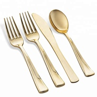 Heavy Duty Gold Disposable Plastic Silverware Cutlery Set with Knife Fork Spoon