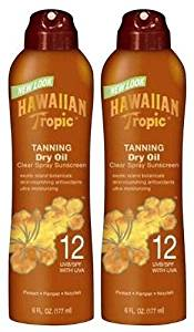Hawaiian Tropic Tanning Dry Oil Clear Spray SPF 12 Sunscreen-6 oz, 2 pack