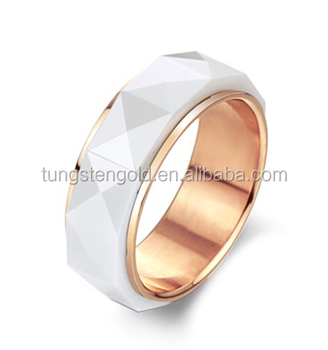 rose gold wedding ring white ceramic inlaid stainless steel ring engagement band for women men - Ceramic Wedding Rings