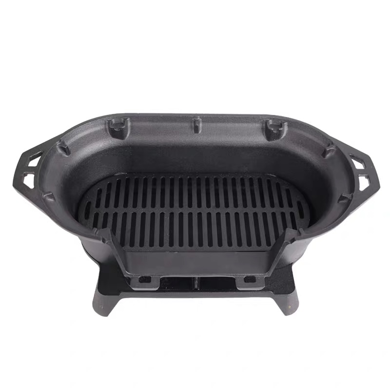 Outdoor Japanese Hibachi Tabletop Cast Iron BBQ Grill Portable Charcoal Barbecue Grill