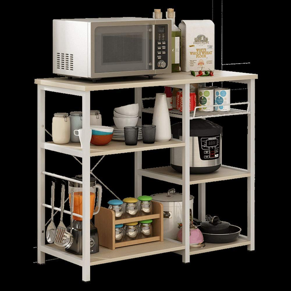 YChoice Rack Decor Creative Kitchen Rack Microwave Oven Shelf Multi-Function Kitchen Storage Rack Floor Stand (Color : Beige, Size : D)