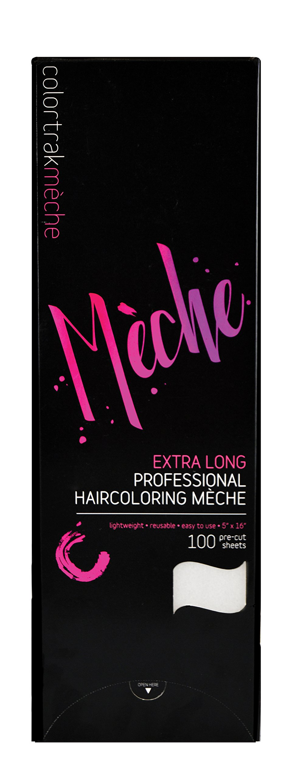 """Colortrak Professional Reusable Hair Coloring Meche Sheets, Extra Long 5"""" x 16"""" (100 Count)"""