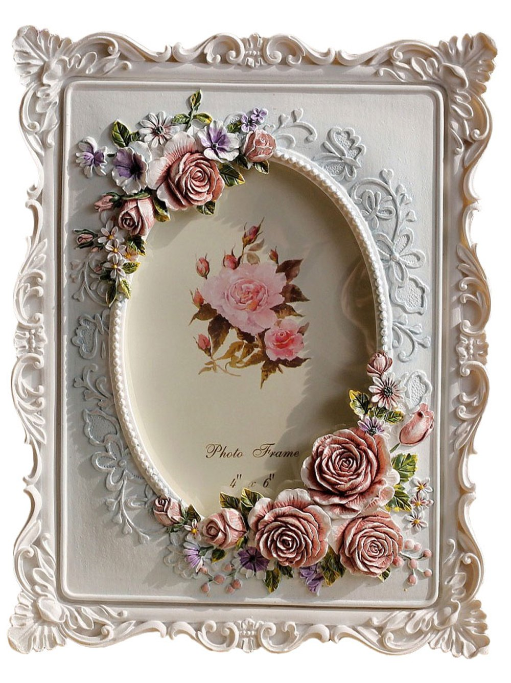 Giftgarden 4x6 Rustic Picture Frame Rose Decor White Frames 4 6 inch Photo Mother Gift, Wedding Gift, Birthday Gift