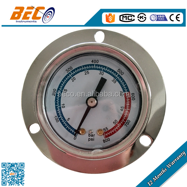 Stainless steel case surface mount pressure gauge with front flange