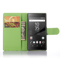 For Sony Z5 Compact Leather Wallet Viewing Stand With Card Solt Cover