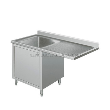 Commercial Double Kitchen Stainless Steel Sink Cabinet With Sliding Door