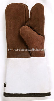 Mitten / Split Leather Mittens with Long Cuff / Leather Mitts