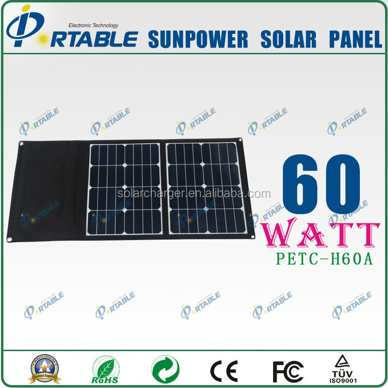 60W sunpower solar cell for camping and travelling and hiking