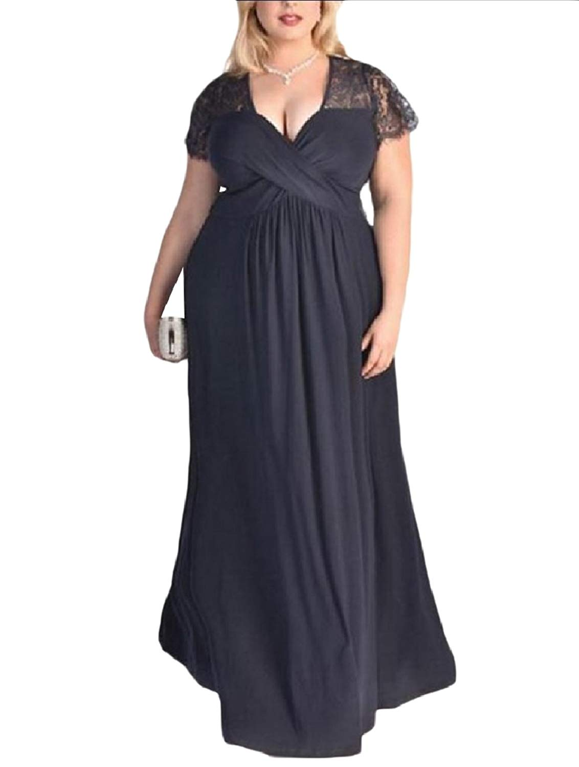 Zimaes-Women Sexy V-Neck Lace Plus-Size Swing Banquet Long Dress