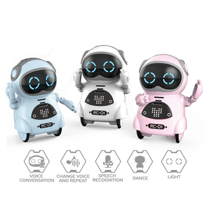 kids toy speech recognition mini robot with light and music