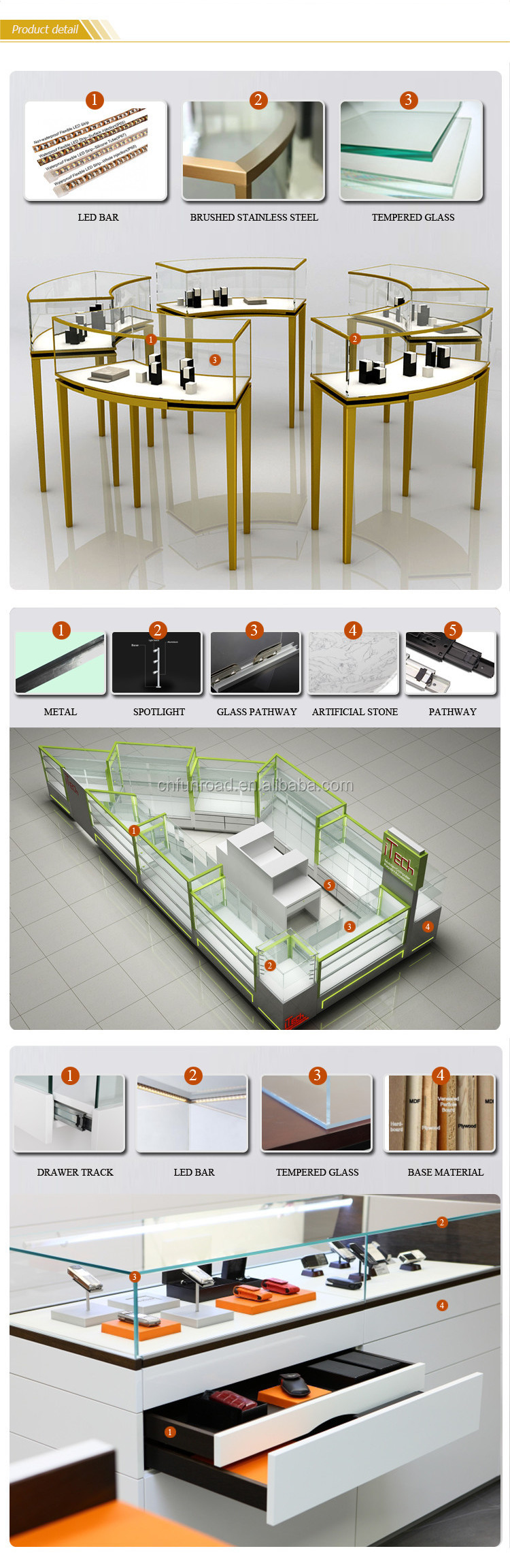 hot sale make up durable mdf cosmetic counter center kiosk cosmetic