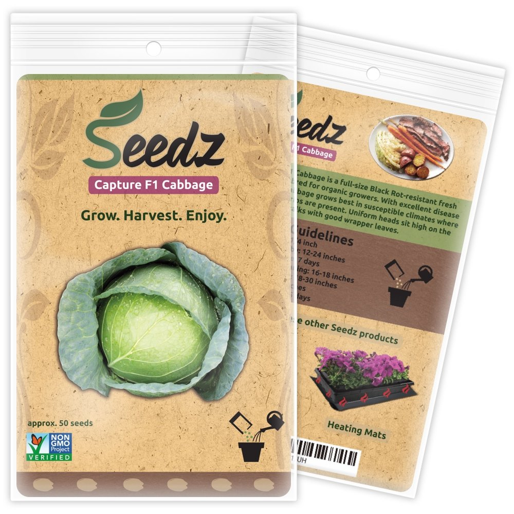 CERTIFIED ORGANIC SEEDS (Appr. 50) - Capture F1 Cabbage Seeds - Top Hybrid Vegetable Seeds - Organic Garden Seeds - USA