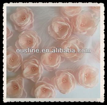 Small Blush Coral Pink Organza Flowershair Clipbrooch Bridal