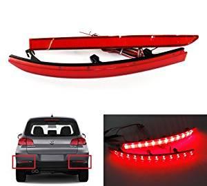 LEDIN 2x Red Lens Rear Bumper Reflector LED Tail Stop Brake Light Volkswagen 5N Tiguan