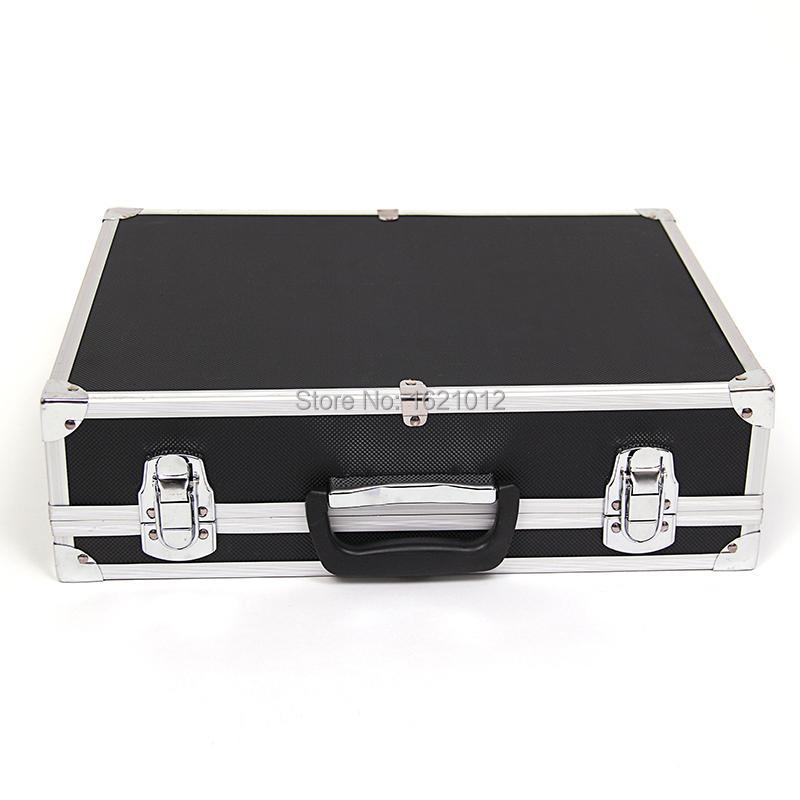 Get Quotations · Large Black Aluminum Toolbox Tool Portable Tool Box  Engineer Storage Suitcase Large Metal Padlock Corners Repair
