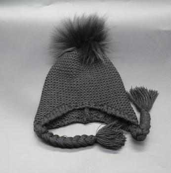 b5c10d79e81 Children color raccoon hair ball Huer ear warm men and women baby braids knit  cap cute