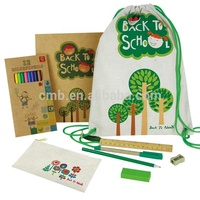Eco Cute School Supplies for Kids Set in Jute&Cotton Bag