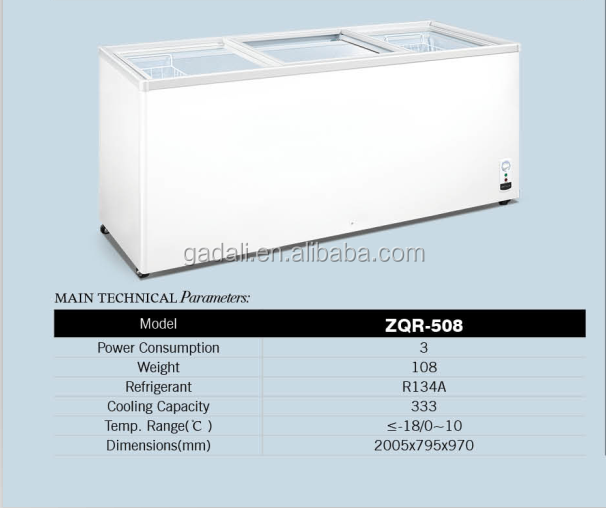 High quality chest cooler freezer+2 door glass ice cream freezer