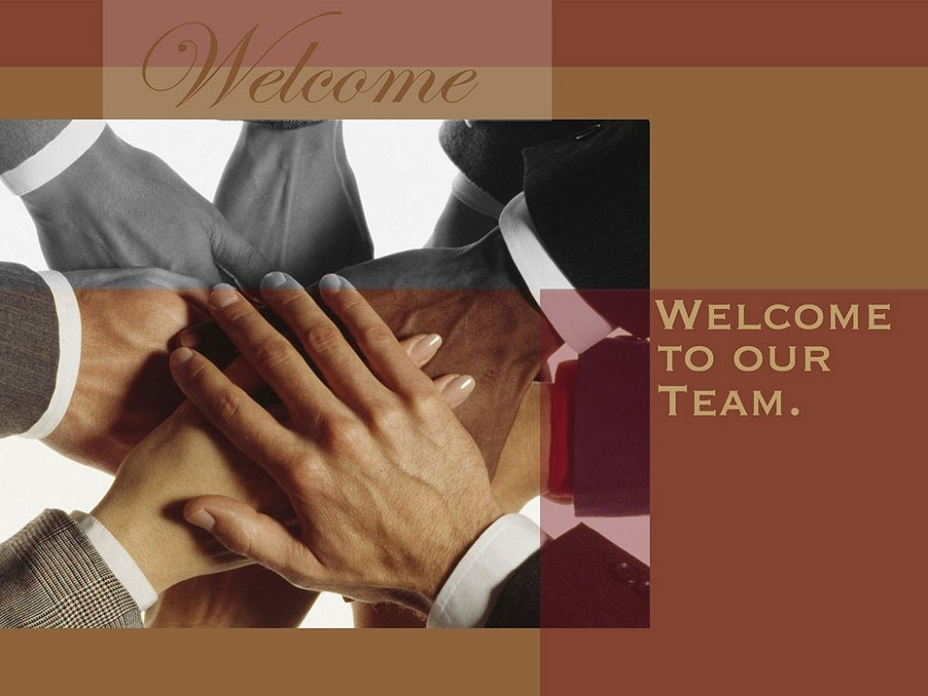 Welcome Greeting Cards - W7001. Business Greeting Card Featuring Many Hands Symbolizing Teamwork and a Welcome Message. Box Set Has 25 Greeting Cards and 26 Bright White Envelopes.