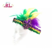 Mardi Gras Throws Feather Sequin Headband Fleur De Lis