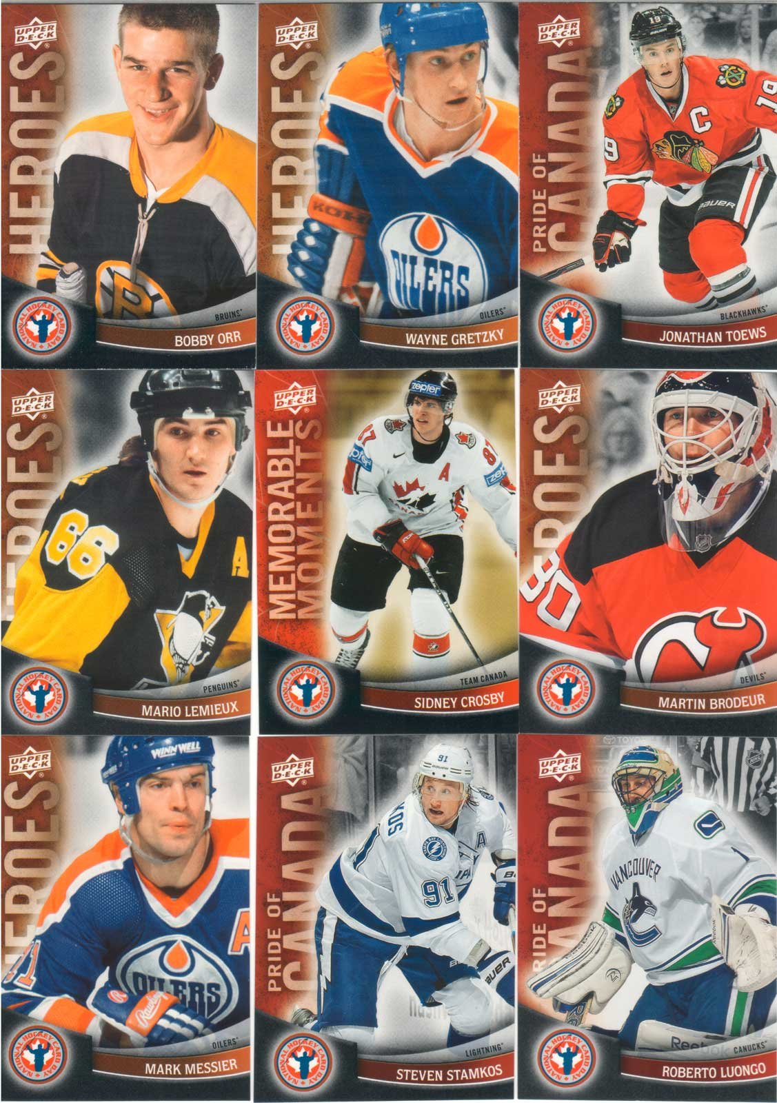 2011 / 2012 Upper Deck National Hockey Card Day Complete Mint 16 Card Set Featuring a Shortprinted Sidney Crosby Card, Plus Highly Touted Rookies Cody Hodgson, Ryan Nugent-Hopkins, Brett Connolly, Mark Scheifele and Sean Couturier, Canadian Stars Taylor Hall, P.k. Subban, Steven Stamkos, Jonathan