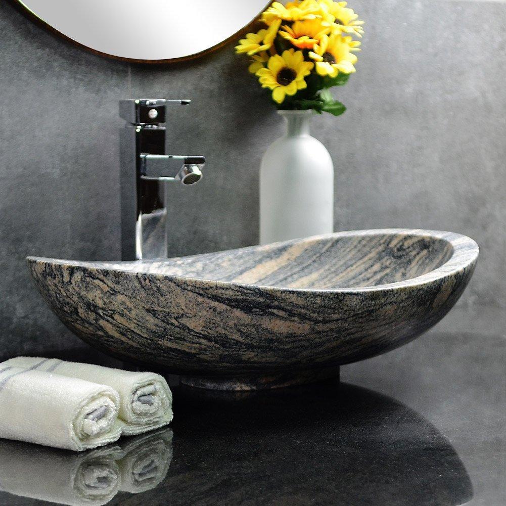 c211876fdb6 Get Quotations · Stone Vessel Sink Oval Granite Vessel Sink for Bathroom  Vanity (China Juparana Granite)