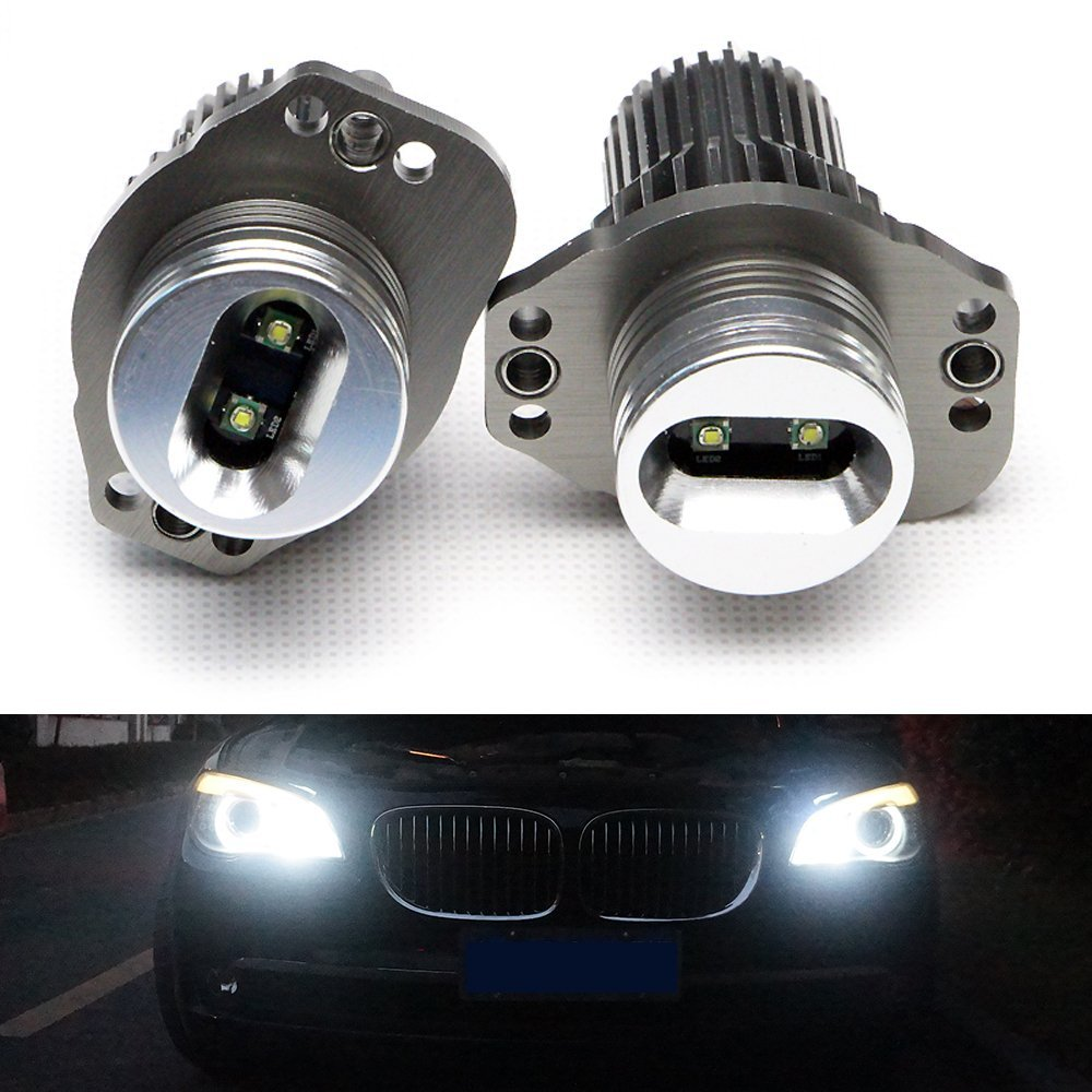 Nslumo 10w Ultra Bright 7000k LED Angel Eye Halo Light OEM Replacement Bulbs for BMW E90 E91 3 Series, Led Marker Headlight for E90 E91