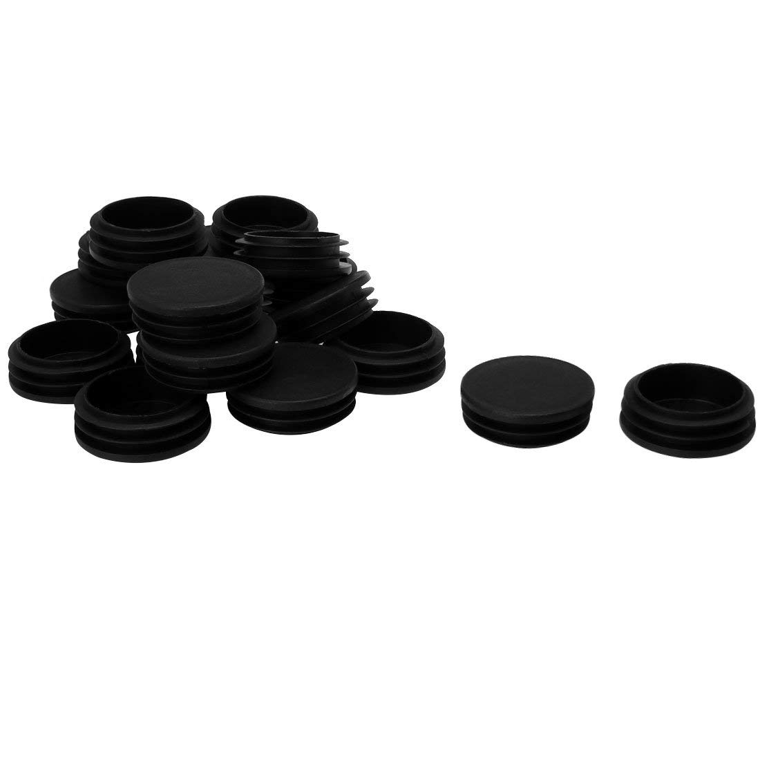 """uxcell 1 7/8"""" 48mm OD Plastic Round Tube Ribbed Inserts End Cover Caps 18pcs, 1.81""""-1.89"""" Inner Dia, Floor Furniture Chair Table Protector"""