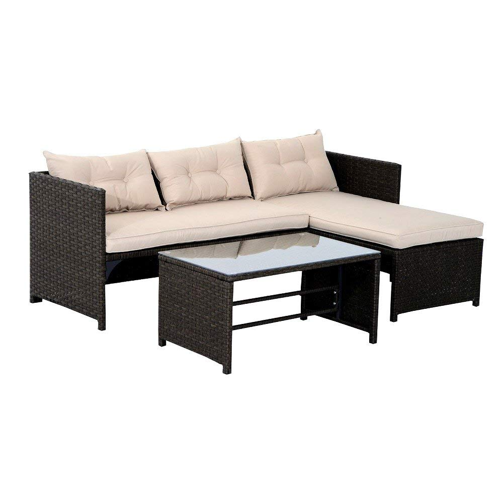 3 Piece Rattan Wicker Patio Set Outdoor Sofa And Chaise Lounge Set   Brown  And Tan