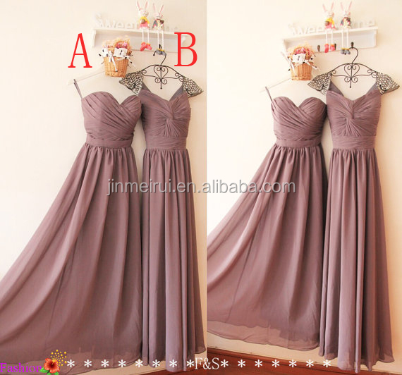 Real Sample Pictures Mauve Colour Bridesmaid Dresses 2 Styles Long Chiffon Dress Bd265