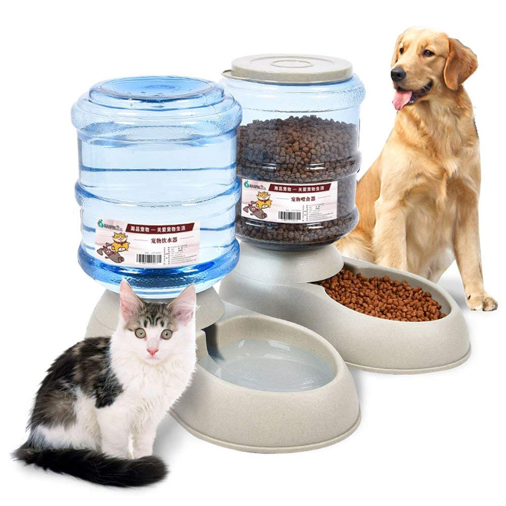 SRHOME Automatic Pet Feeder Food Dispenser for Dogs & Cats,Self-Dispensing Gravity Pet Feeder and Waterer-8 lbs