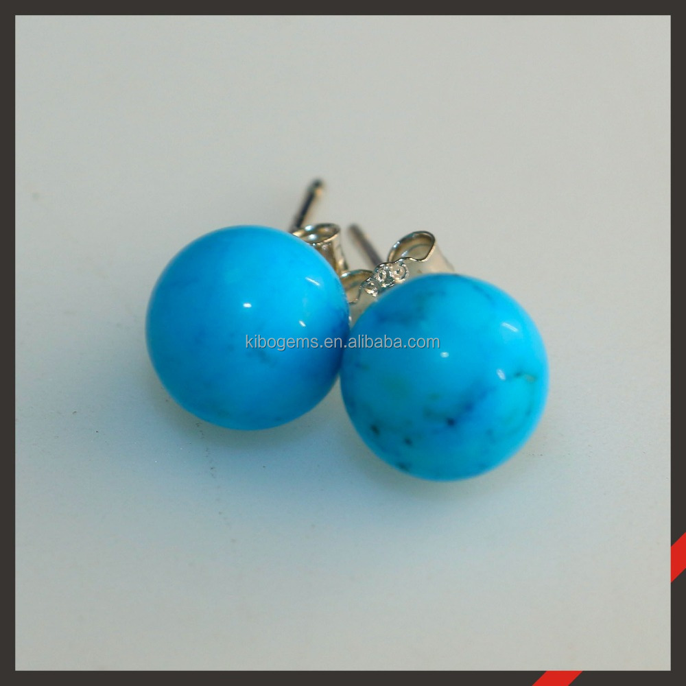 Qibao hot sale rounded 8mm 925 silver blue turquoise earring