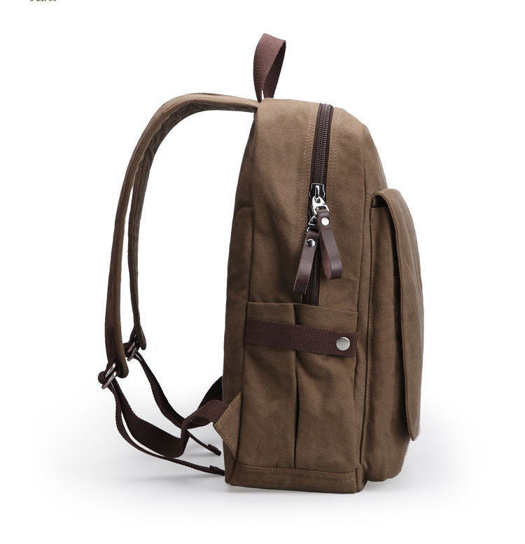 School bag for university students Wholesale Vintage Plain Mens School Washed Canvas Laptop Backpack for  teenagers