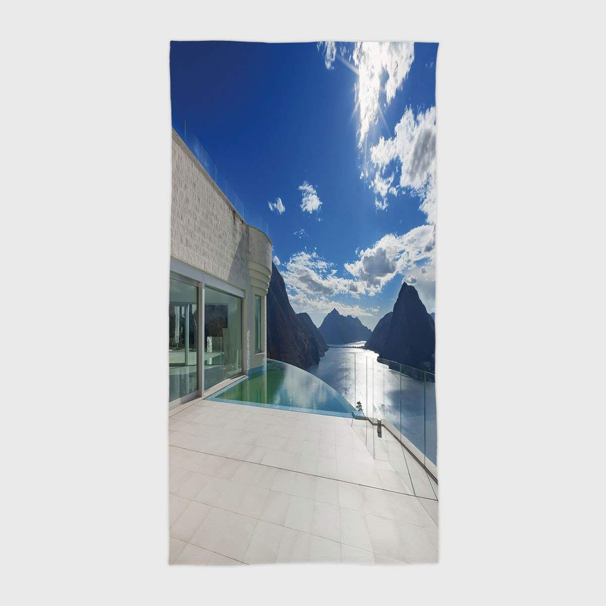 One Side Printing Hotel SPA Beach Pool Bath Hand Towel,Patio Decor Modern Summer Penthouse with Infinite Pool Ocean Sea Scenery Image White Sky Blue and Blue,for Kids Teens and Adults