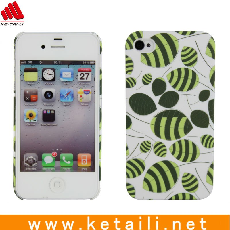 China Alibaba Hot Selling Silicone Phone Case Green leaves printing design for iphone 4S cover