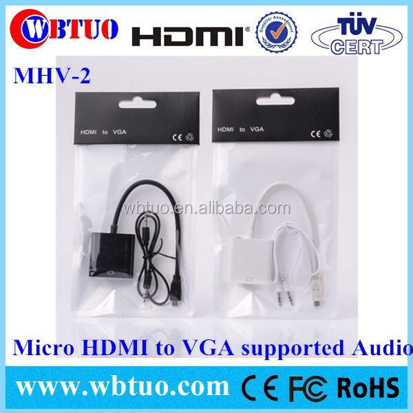 Micro HDMI Male to VGA Female aduio Adapter Cord Converter Cable 1080P Chipset For PC