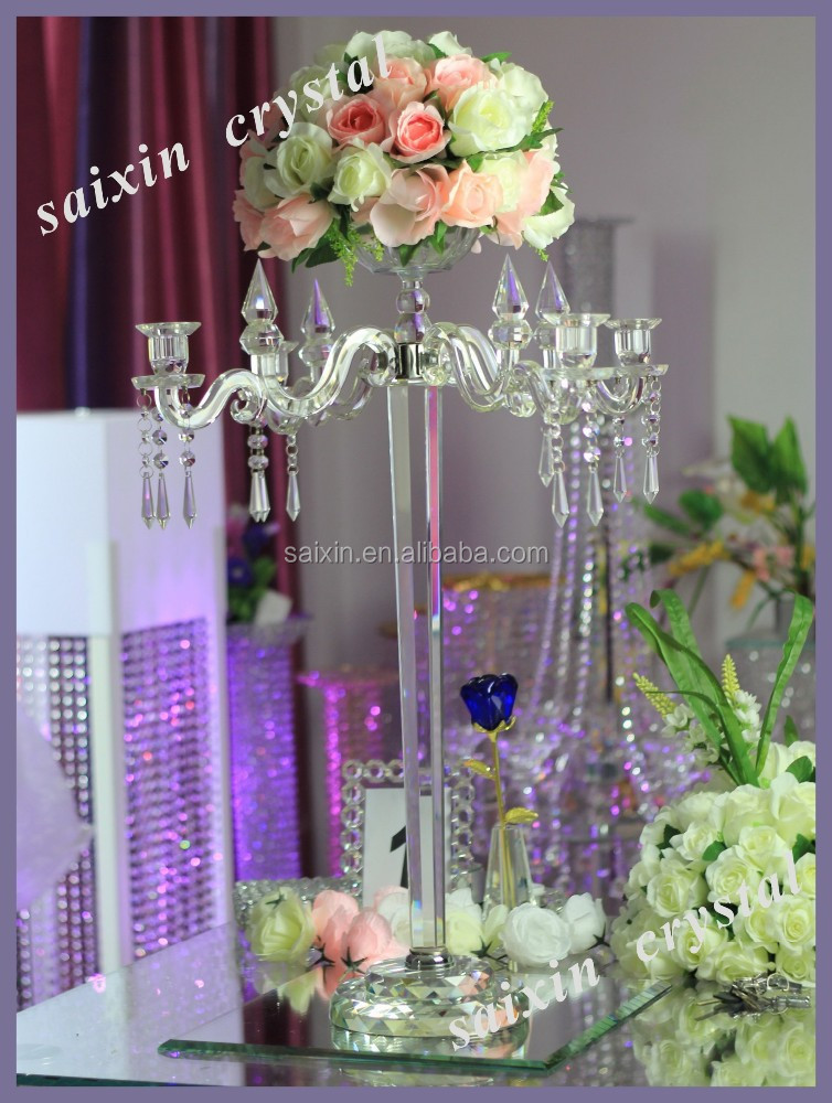Crystal Candelabra Flower Stand For Wedding Centerpiece View