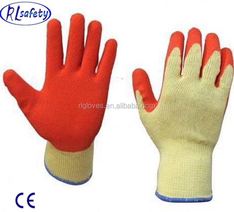 RL safety CY 10 guage 5 yarn poly cotton work glovecrinkle latex coated mechanical glovesabrasion proof safety & protection glo