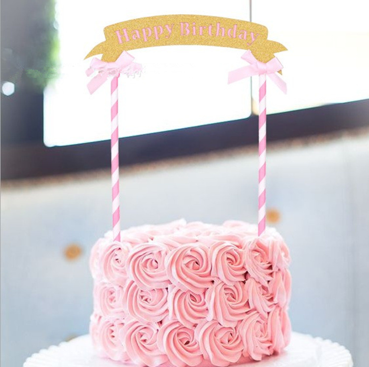 Happy Birthday CupCake Flag Decoration Pink Double Arch Bow Cake Topper