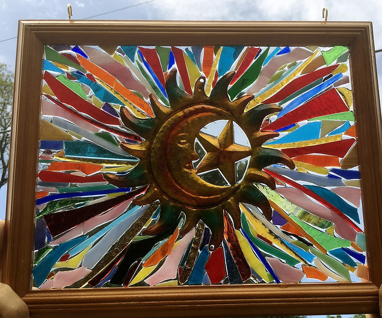 Moon Sun Stars Stained Glass Window Art Sun Catcher