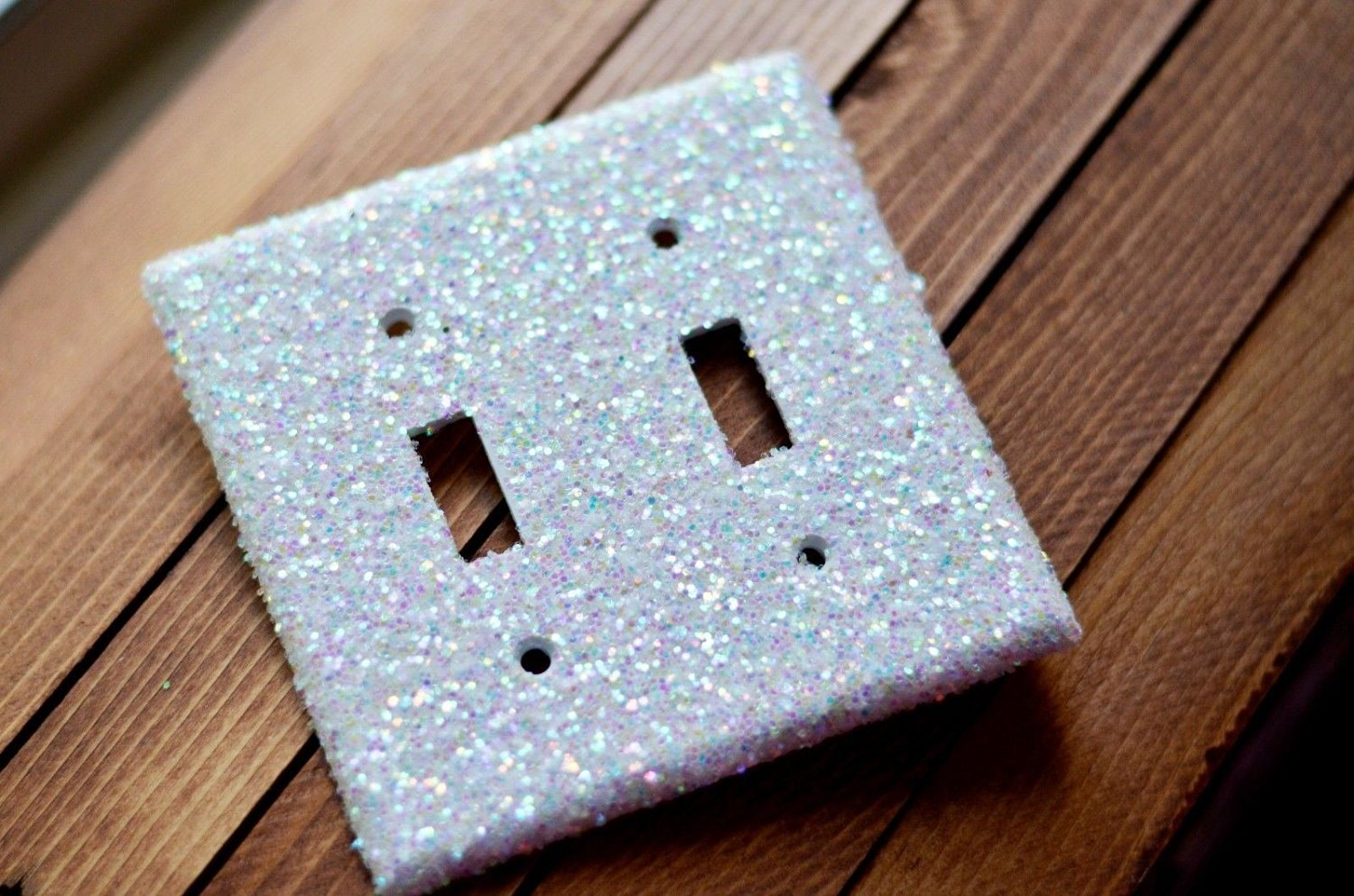 Decorative Iridescent Glitter Lightswitch (Light Switch) Plate & Outlet Cover (Ship From Usa) (Double Light Switch)