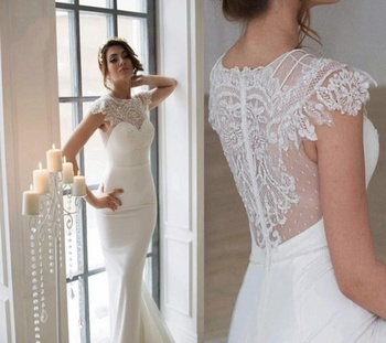 High Quality Silk Satin Wedding Gown Sheer Illusion Nude Back See Through Sexy Mermaid Wedding Dresses Buy Lace Wedding Dressesbridal Gownwedding