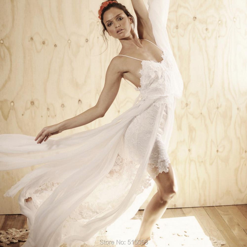 Elegant Lace Sweetheart Leg Slit Long Chiffon Boho Wedding