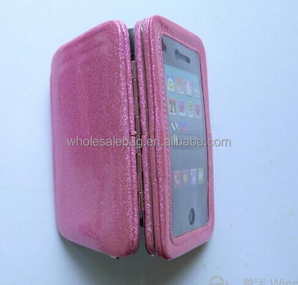 Pink Glitter Pu Clutch Hand Strap Phone Purse Wallet Case Cover With Clear Window For Iphone 5 , Iphone 6 Plus ,Sumsung , HTC