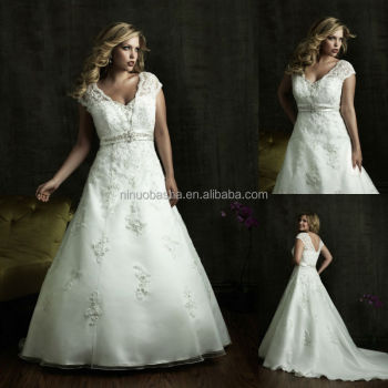 Organza Satin Plus Size Wedding Dress 2014 V Neck Cap Sleeve Lace