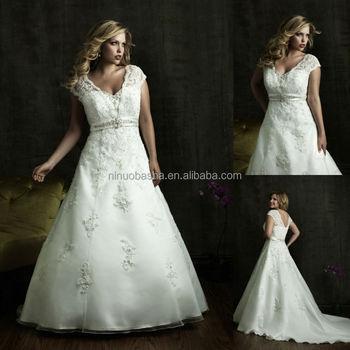 Organza Satin Plus Size Wedding Dress 2014 V-neck Cap Sleeve Lace ...