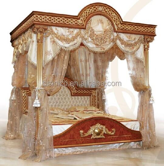 Royale Italienne En Bois Chambre Meubles De Luxe Rembourre Lit A