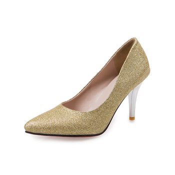 09ca9921376b 2018 New design women glitter leather weeding party wear high heels pumps  shoes