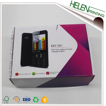 Custom full color printed glossy packaging corrugated mobile phone packing box